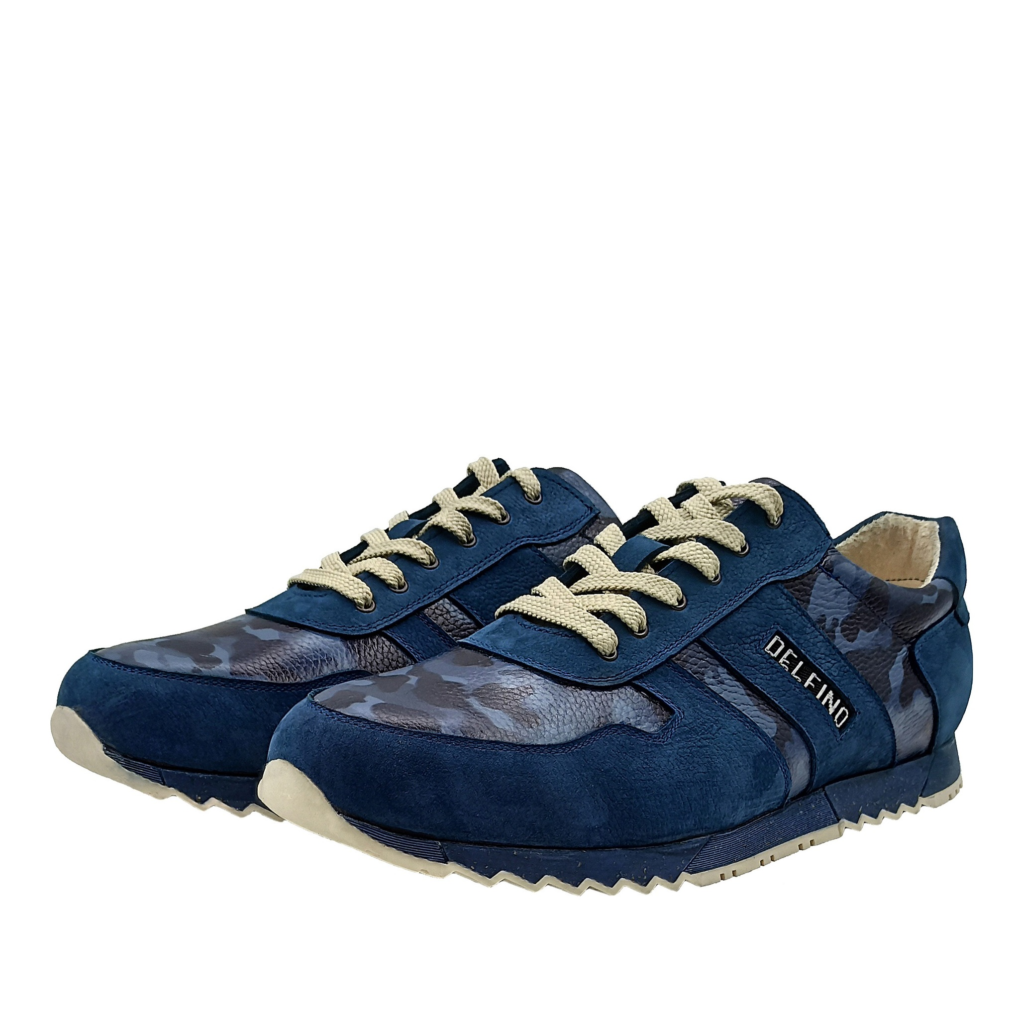 701396 полуботинки мужские синие камуфляж больших размеров марки Делфино
