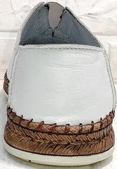 Мужские летние туфли слипоны кожаные casual Luciano Bellini 91724-S-304 All White.