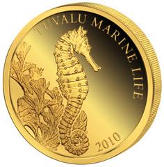 2010 год 1 доллар AU-999, Тувалу Морской конек, 0,5 гр.