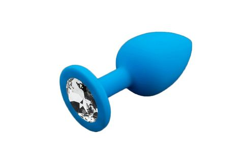 Маленькая голубая силиконовая пробка с прозрачным кристаллом - 7,5 см.