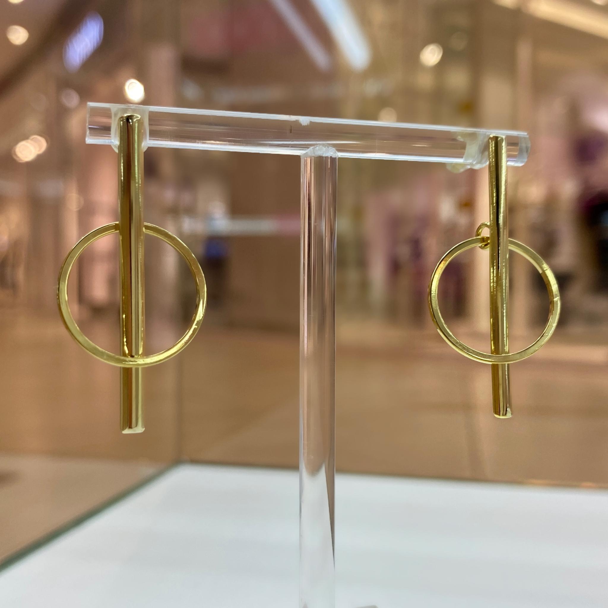 Серьги-палочки с динамическим колечком (золотистый)