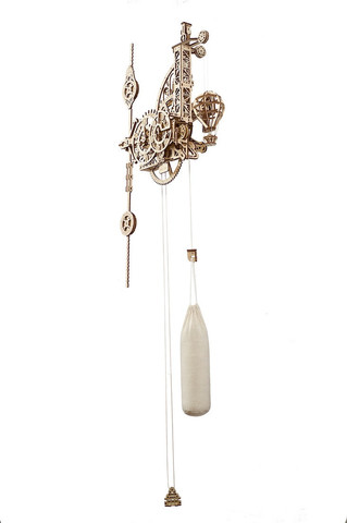 Настенные Аэрочасы с маятником - Деревянный конструктор, сборная модель, 3D пазл