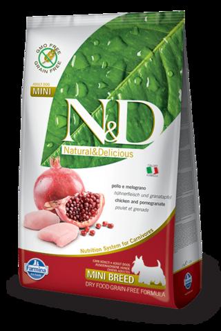 Сухой беззерновой корм Farmina N&D Grain Free Chicken&Pomegranate Adult Dog Mini
