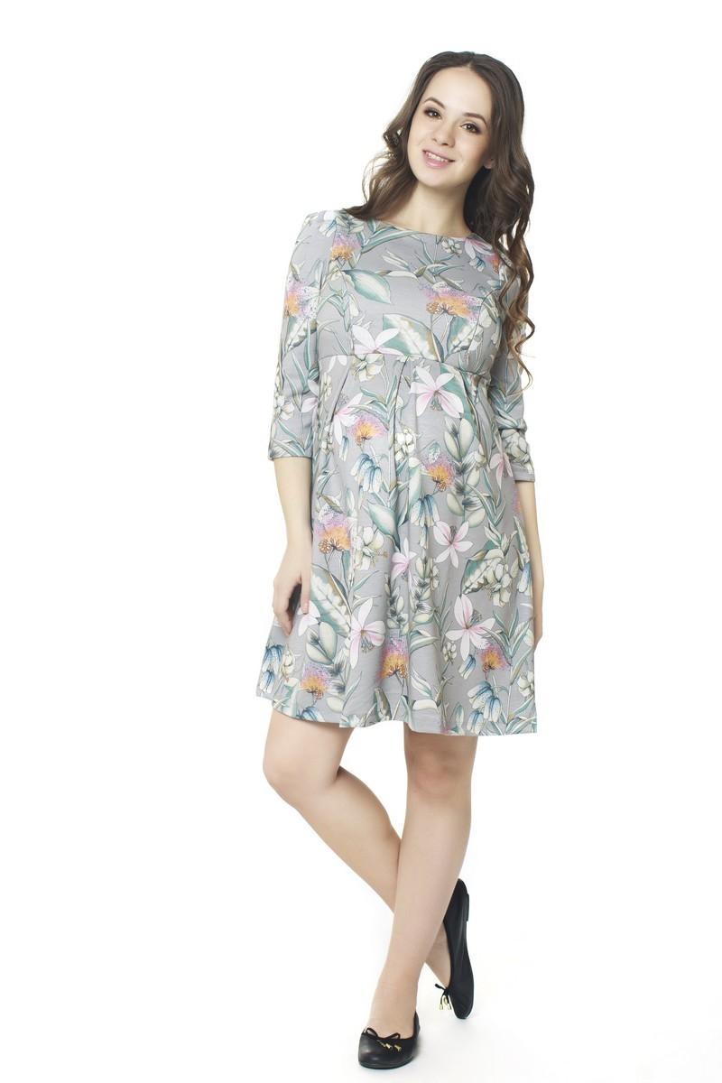 Платье для беременных и кормящих 07352 серый