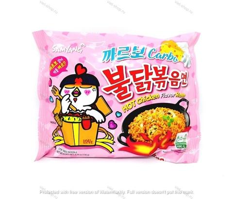 Корейская пшеничная лапша со вкусом острой курицы и соуса карбонара Samyang, 130 гр.