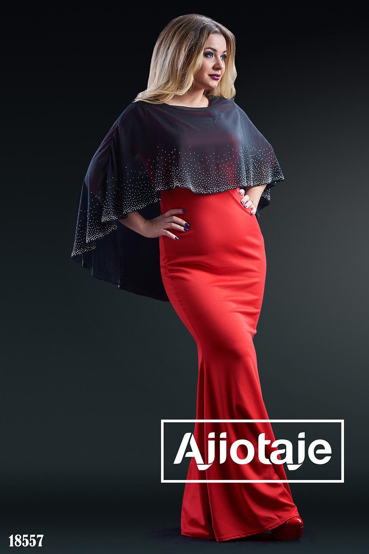 Платье красного цвета с имитацией накидки