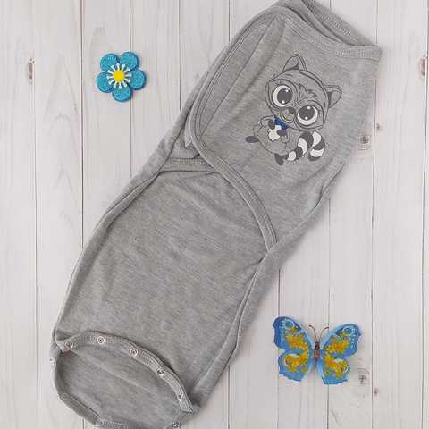Пеленка-кокон на липучках с кнопками BabyStarTex, интерлок, серая/енотик мальчик