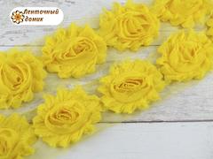 Шифоновые шебби-розы желтые  диаметр 6 см