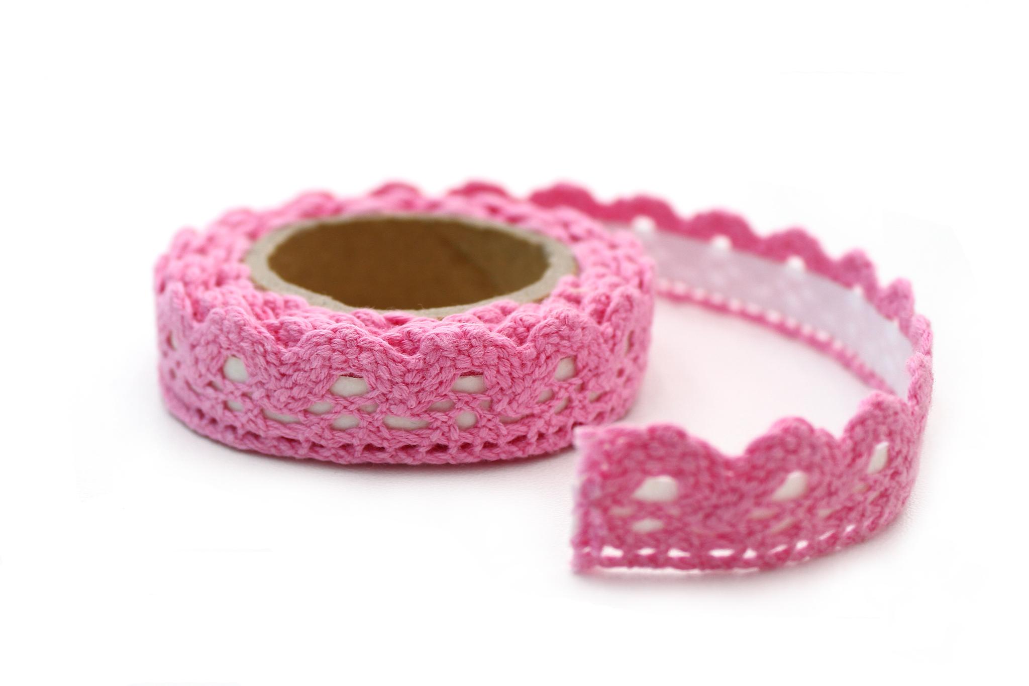 Лента плетение розовый с клеевой,1,8 см