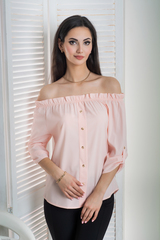 Міка. Молодіжна оригінальна літня блуза. Пудра