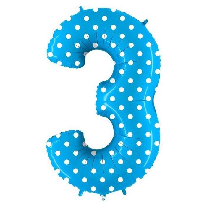 цифра 3 голубая голубой горох
