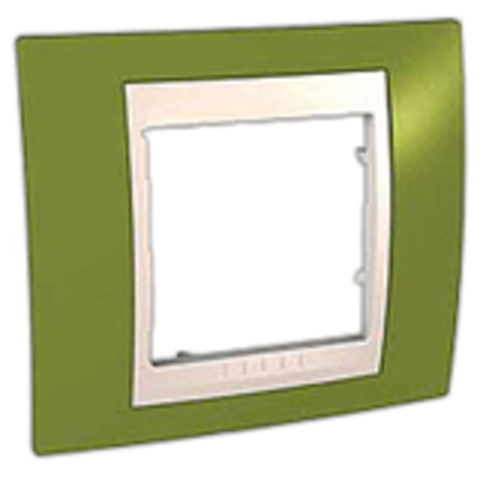 Рамка на 1 пост. Цвет Фисташковый/Белый. Schneider electric Unica Хамелеон. MGU6.002.866