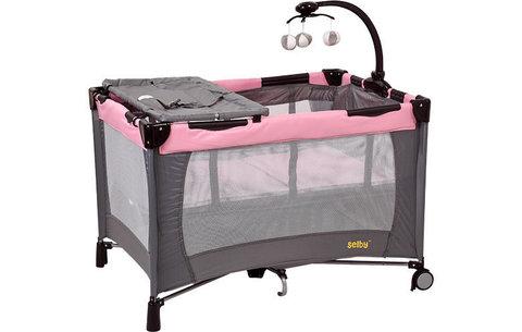 Манеж Selby 215, серый-розовый