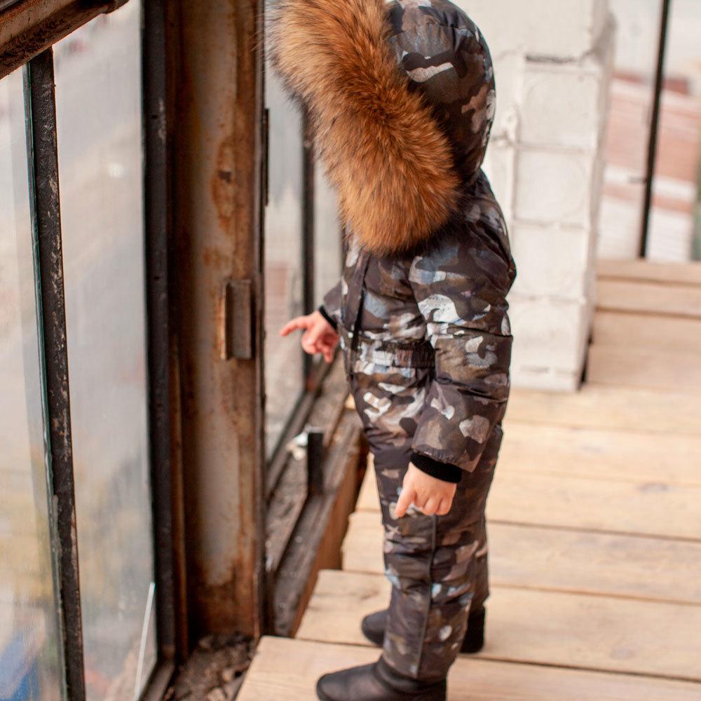 Дитячий камуфляжний зимовий комбінезон і опушкою з натурального хутра