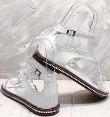 Летние босоножки без каблука с закрытой пяткой женские Evromoda 454-402 White.