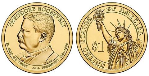 1 доллар 26-й президент США Теодор Рузвельт 2013 год