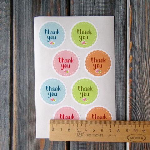 Наклейки THANK YOU - 8шт (круг 3,5см)