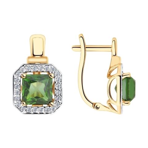 725835 -Серьги из золота с зелеными ситаллами и фианитами