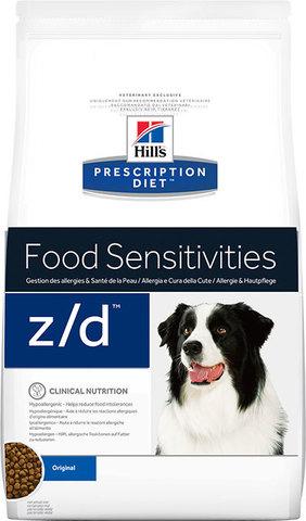8кг HILL'S Prescription Diet Сухой корм для собак при острой пищевой аллергии z/d Food Sensitivities