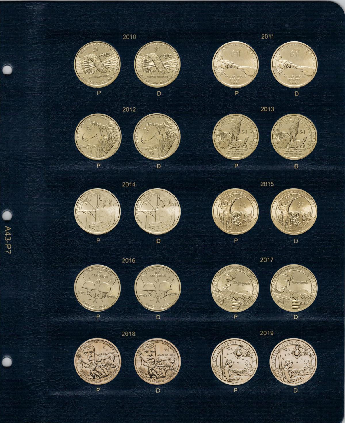 Альбом для юбилейных монет США 1 доллар (по монетным дворам)
