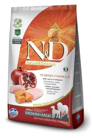 Сухой беззерновой корм Farmina N&D Grain Free Pumpkin Chicken&Pomegranate Adult Dog Medium&Maxi