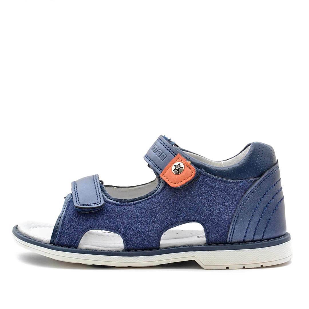 Кожаные анатомические сандалики с каблуком Томаса Nordman Boom темно-синие