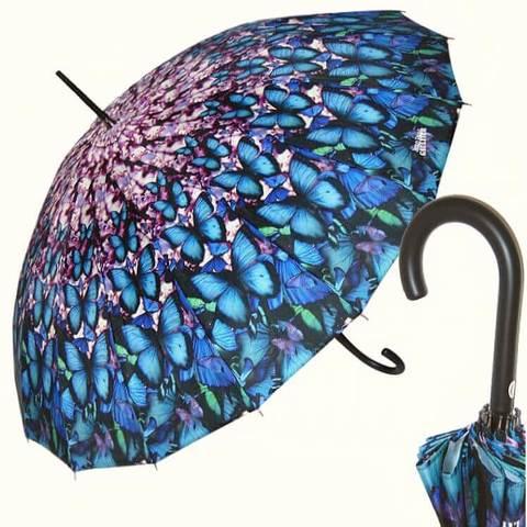 синий зонт Бабочки 16 спиц купить в магазине онлайн