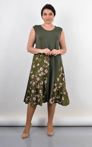 Флоріана. Трикотажне плаття на літо великий розмір. Олива.