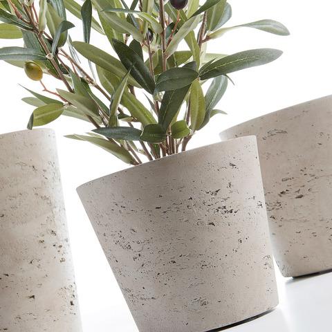 Набор из 3-х кашпо Lux цементно-серого цвета