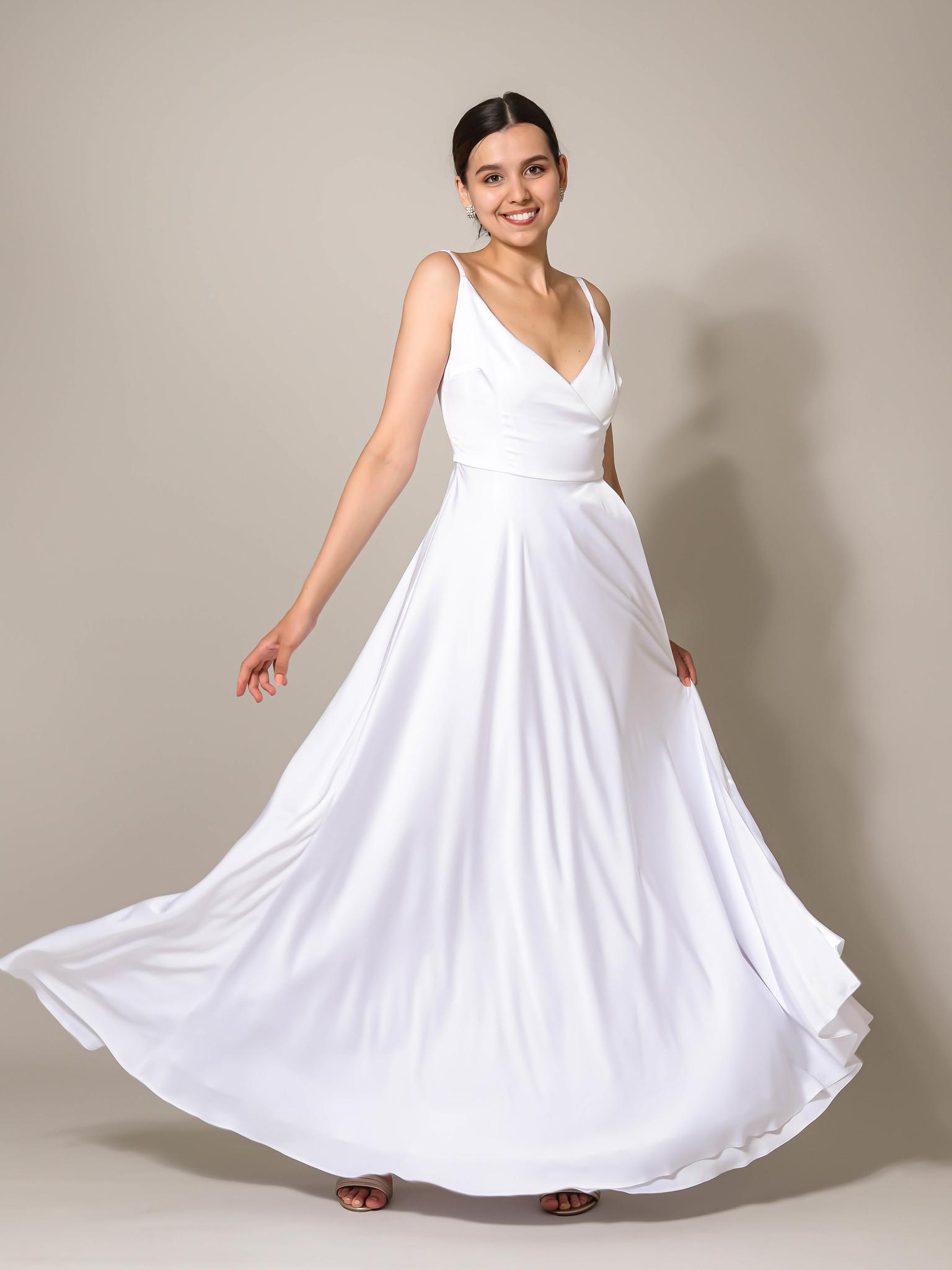 Свадебное платье из шелка макси (белый)
