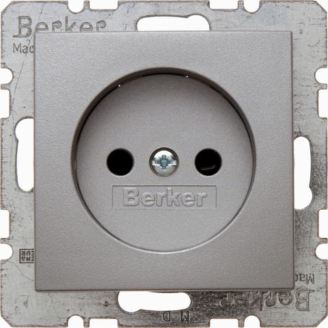 Розетка 2К, 10/16 А 250 В без заземляющего контакта. Цвет Алюминий. Berker (Беркер). S.1 / B.3 / B.7. 6167331404