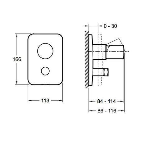 Смеситель для душа и ванны Jacob Delafon Toobi E98719-CP встроенный схема