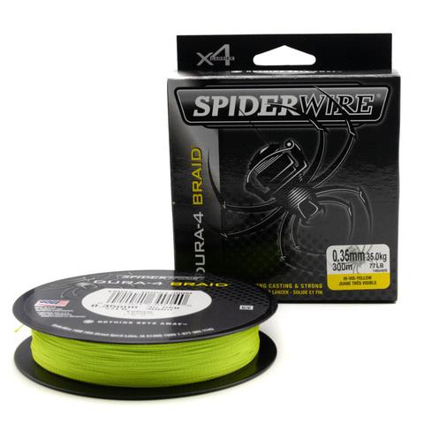 Плетеная леска Spiderwire Dura4 Braid Ярко-желтая 300 м. 0,35 мм. 35 кг. Yel (1450420)