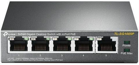 Коммутатор TP-Link TL-SG1005P 5G 4PoE+ 56W неуправляемый