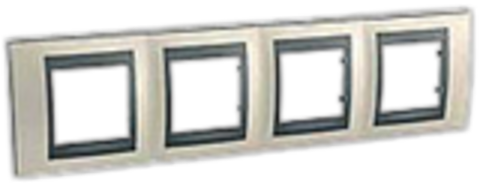 Рамка на 4 поста. Цвет Опал-графит. Schneider electric Unica Top. MGU66.008.295