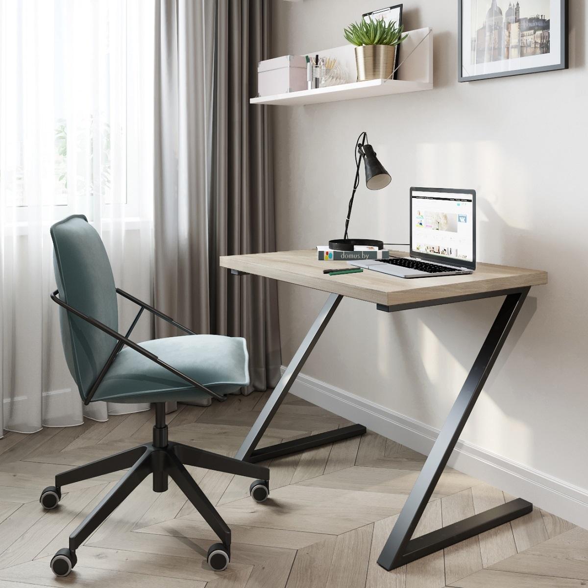 Письменный стол ДОМУС СП012 вяз светлый/металл черный