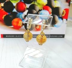 Серьги из муранского стекла со стразами Franchesca Ca'D'oro Medio Gold Topaz 008O