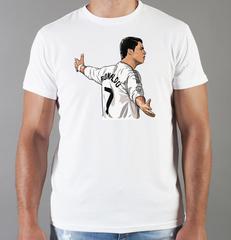 Футболка с принтом Криштиану Роналду (Cristiano Ronaldo) белая 008