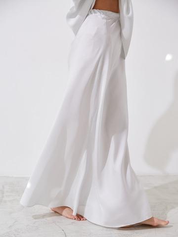 Юбка макси из шелка белый в горох