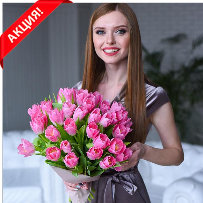 Букет 35 розовых тюльпанов