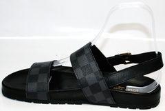 Кожаные босоножки мужские Louis Vuitton 1008 01Blak.