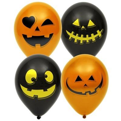 Латексный воздушный шар, Тыква черный /оранжевый