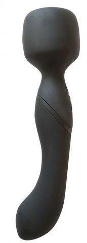 Черный двусторонний вибромассажер Heating Wand с нагревом - 22 см.