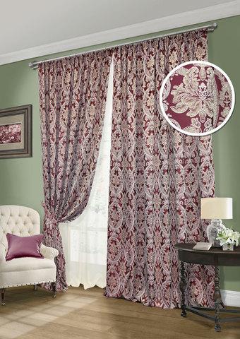 Комплект штор Эвита жаккард бордовый с подхватами и тюлем