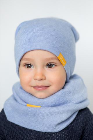 детская шапка из турецкой шерсти голубая
