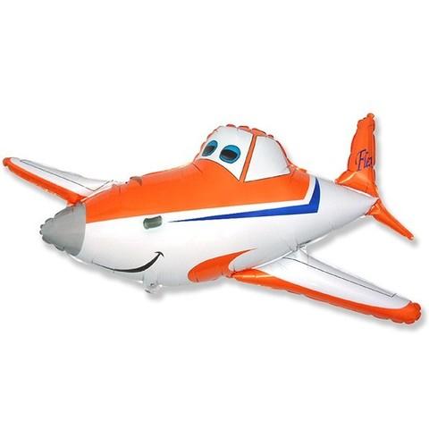 Фольгированный шар Самолет оранжевый