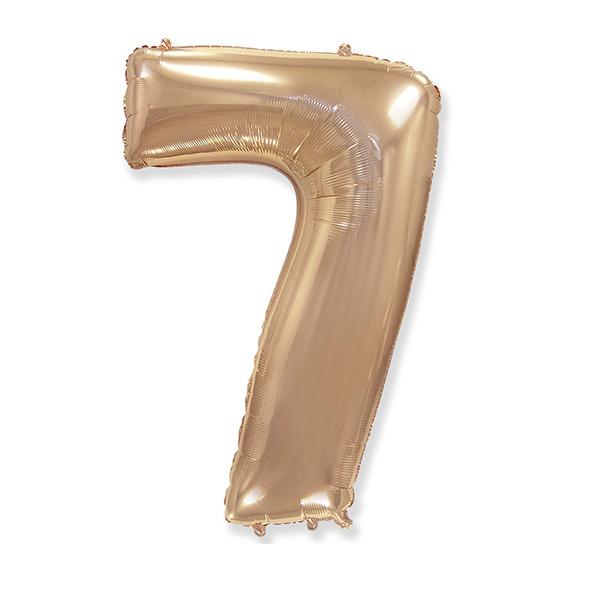 Фольгированная цифра 7, розовое золото
