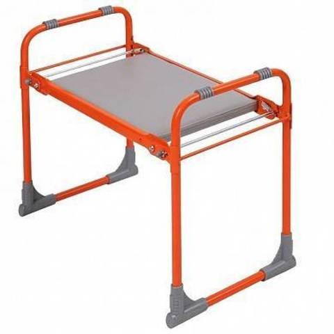 Складная садовая скамейка-перевертыш  с пластиковым сиденьем оранжевая