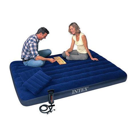 Надувная кровать Intex 68765 + 2 подушки и насос