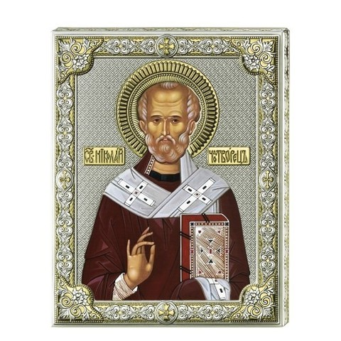 Серебряная икона Святой Николай (писаные одежды)
